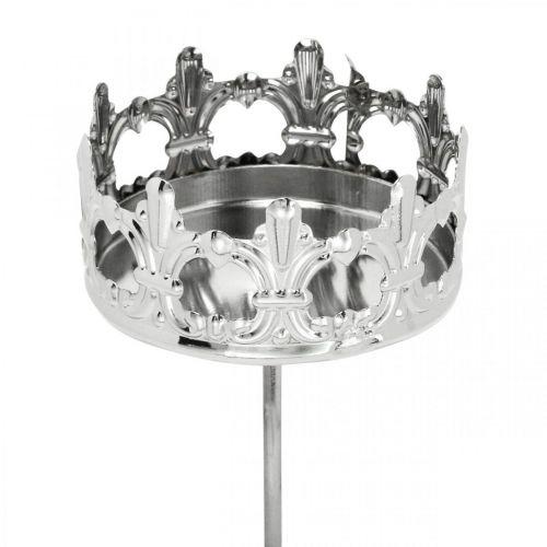 Kerzendeko Krone, Teelichthalter zum Stecken, Adventsdeko Silbern Ø5,5cm 4St