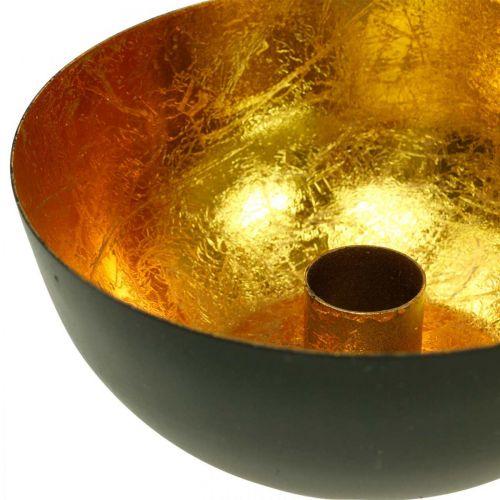 Kerzenhalter Weihnachten Metall Schwarz, Gold Tischdeko Ø13cm 3St