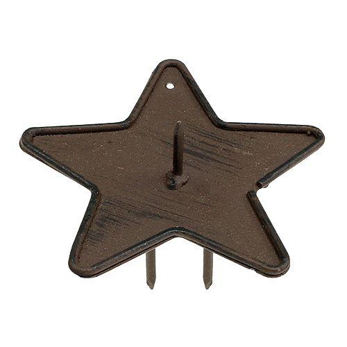 Kerzenhalter Stern zum Stecken 9cm Braun