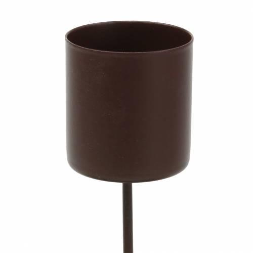 Deko Kerzenhalter weiß gewischt für Stabkerzen 10 x 4 cm