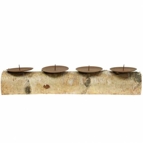 Kerzenhalter mit 4 Dornen Birke 40cm x 8cm H9cm
