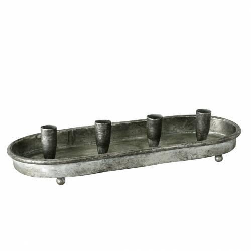 Kerzen-Tablett oval für 4 Kerzen Antik Silbern Metall  40×17cm