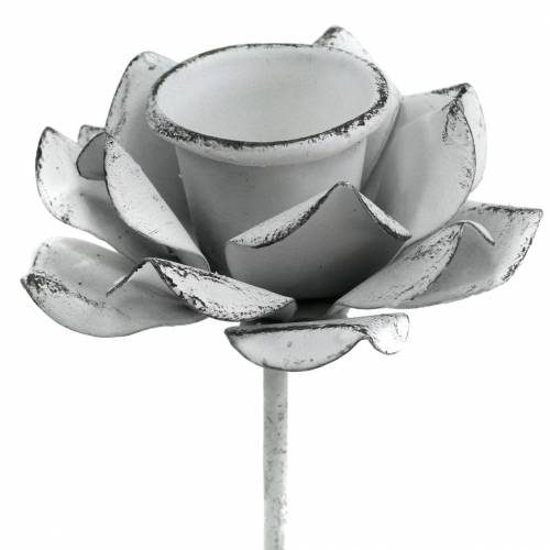 Kerzenhalter Blüte zum Stecken Weiß Metall Ø6×10cm