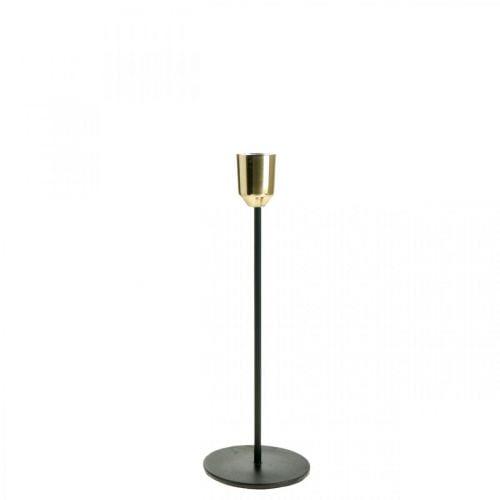 Kerzenhalter aus Metall, Kerzenständer Gold / Schwarz H24,5cm Ø2,2cm