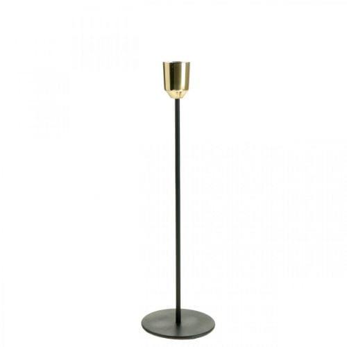 Kerzenhalter Gold / Schwarz, Kerzenständer aus Metall H29cm Ø2,2cm