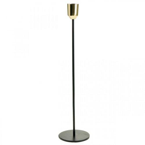 Kerzenständer, Metall-Kerzenhalter, Golden/Schwarz H33,5cm Ø2,2cm
