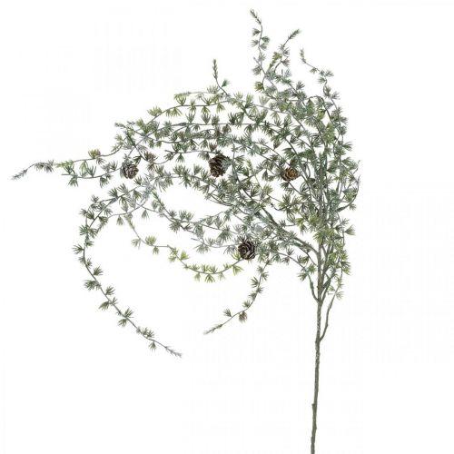 Deko Zweig Lärche mit Zapfen Grün, verschneit Winter Deko 93cm