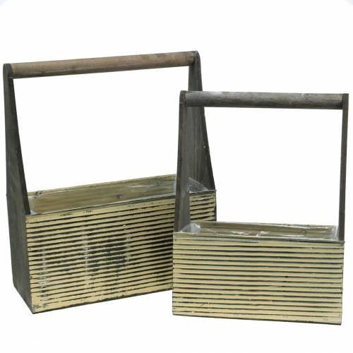 Pflanzgefäß mit Griff Creme, Grau Weiß gewaschen Holz Metall 30×12,5cm/28×12cm 2er-Set