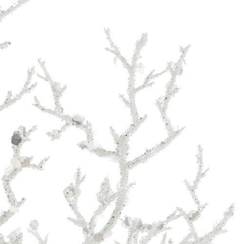 Korallenzweig mit Glimmer Weiß L32cm 3St