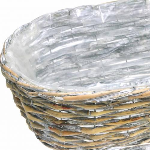 Korb zum Bepflanzen oval Natur, Weiß gewaschen 37/43/49cm 3er-Set