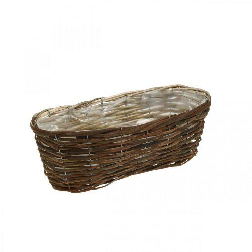 Korb zum Bepflanzen, Blumenschmuck, Holzkorb Natur L35cm 11,5cm