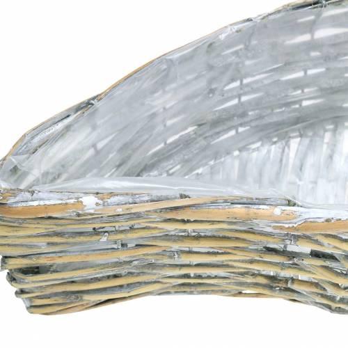 Korb zum Bepflanzen wellenförmig Natur, Weiß gewaschen 60×20/48,5×15/42×11cm 3er-Set