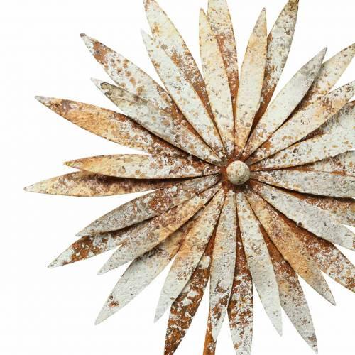 Gartenstecker Kornblume Edelrost Metall Weiß Ø18cm H88cm