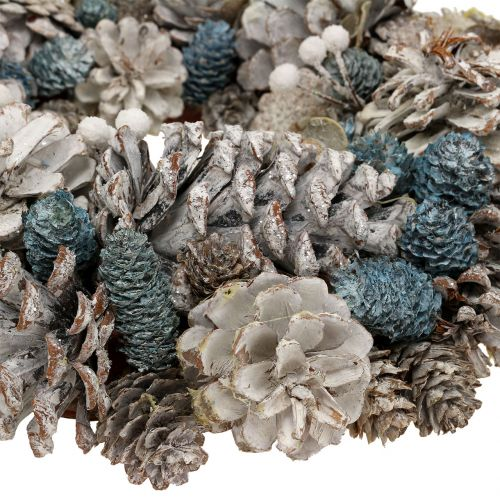 Zapfenkranz mit Glitter Weiß, Blau, Natur Ø32cm