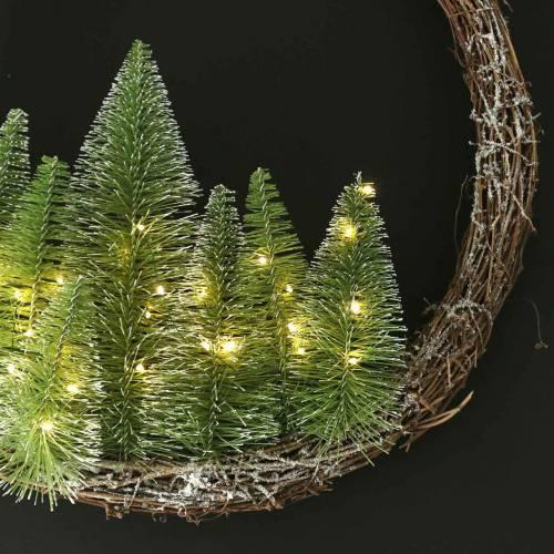 Weihnachtskranz mit Bäumchen und LED Ø48cm Beschneit Grün, Braun