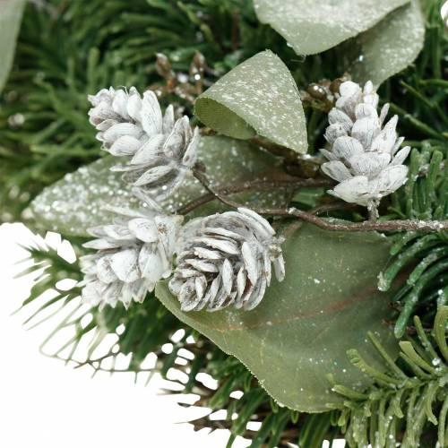 Deko-Kranz Eukalyptus und Zapfen künstlich Ø45cm Grün, Weiß