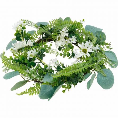 Künstlicher Eukalyptus-Kranz mit Farn, Kapmargeriten und Jasmin, Türkranz, Deko Kranz, Tischdeko