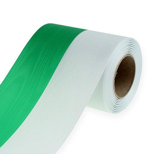 Kranzbänder Moiré grün-weiß 125mm 25m