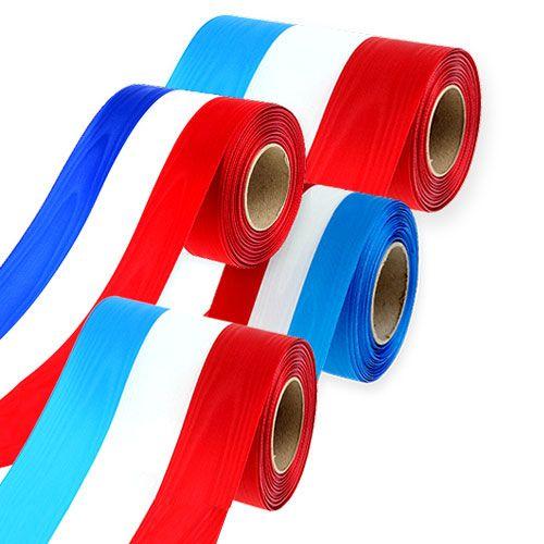 Kranzband Moiré Blau-Weiß-Rot