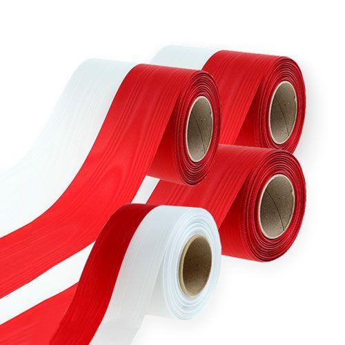 Kranzbänder Moiré weiß-rot
