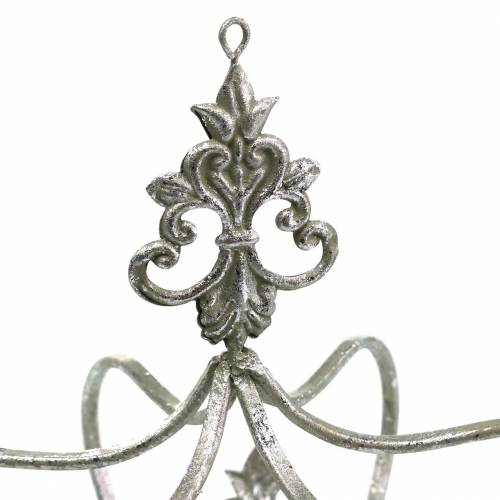 Deko Krone Silbern Metall Ø17,3cm H22,5cm