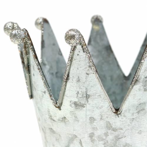Dekotopf Krone Metall Silber Ø13,5cm H11,5cm 2St
