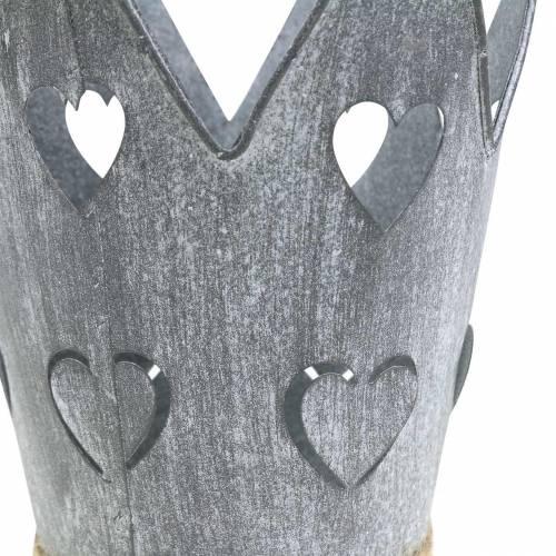 Zinktopf Krone Herzen Grau gewaschen Set Ø12/14cm