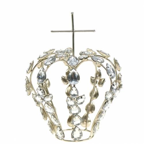 Krone mit Diamanten und Kreuz Silber Ø11cm H17cm