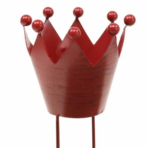 Kerzenhalter Krone zum Stecken Rot Ø7,5cm H11cm