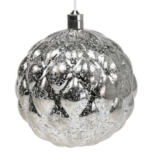 Kugel Plastik Silber Ø20cm mit 15er LED und Batterien