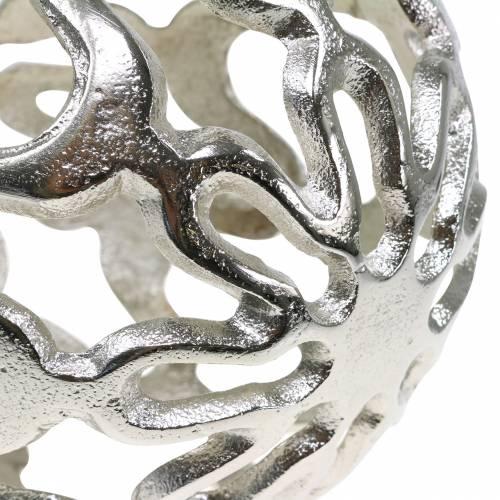 Deko Kugel durchbrochen Metall Silber Ø15cm