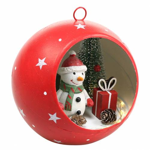 Weihnachts-Kugel zum Hängen Schneemann und LED Rot Ø14cm Für Batterien