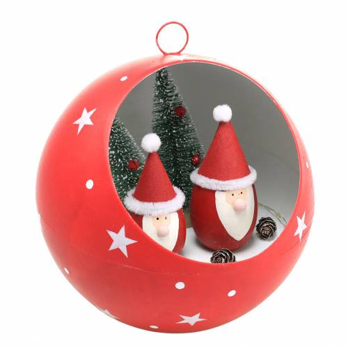 Weihnachts-Kugel zum Hängen Weihnachtsmänner und LED Rot Ø20cm Für Batterien