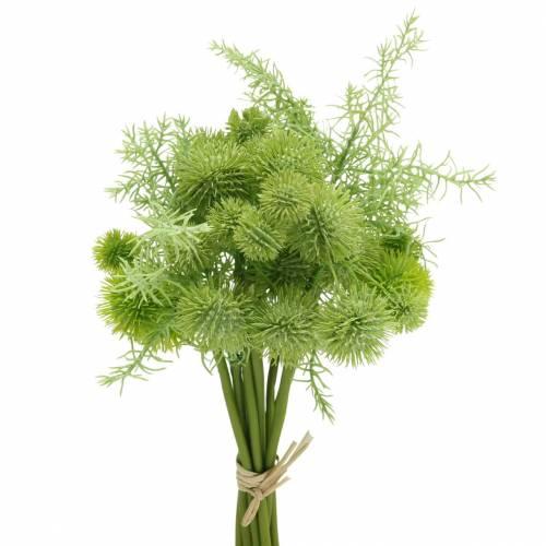 Kugeldistel im Bund künstlich Grün Sortiert 34cm 10St