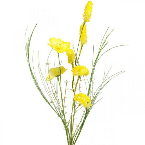 Kunstblumenstrauß Gelb, Mohn und Strauch-Ranunkeln im Bund, Seidenblumen, Frühlingsdeko L45cm