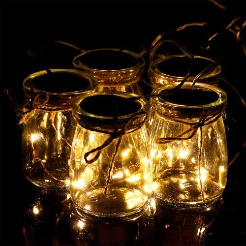 LED Lichterkette im Glas Warmweiß 70cm 15 Lichter
