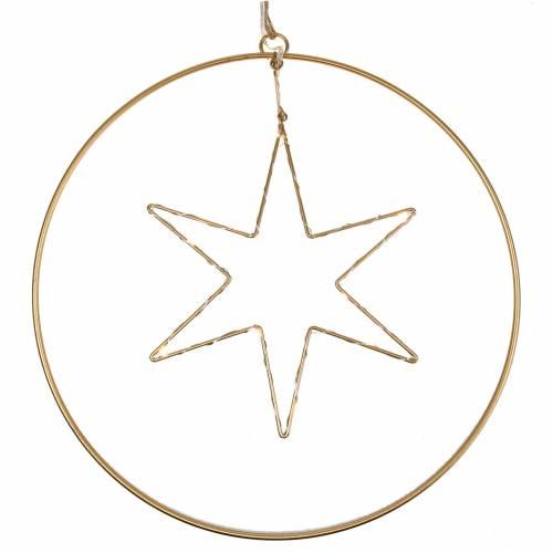 LED-Stern im Deko-Ring zum Hängen Golden Metall Ø30cm