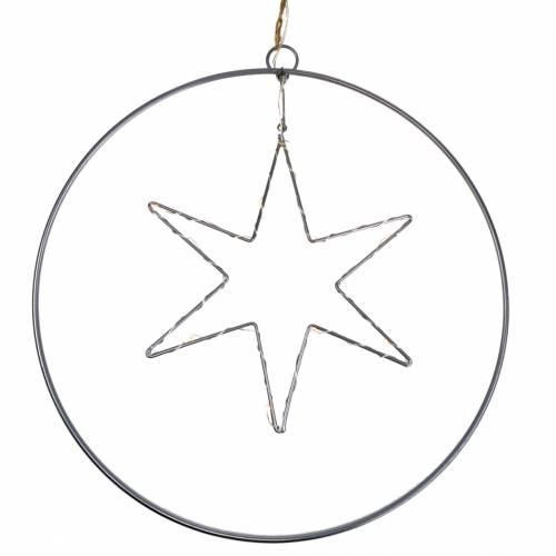 LED-Stern im Deko-Ring zum Hängen Silbern Metall Ø30cm
