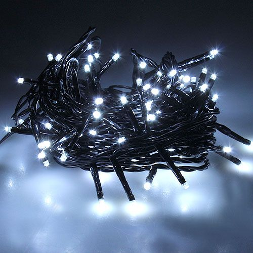 LED Reislichterkette 80er 6m für Außen schwarz/weiß