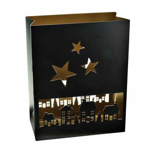Laterne Weihnachten Häuser Eckig Schwarz, Gold Metall 20,5×10cm H26cm