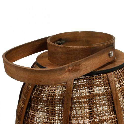 Geflochtenes Windlicht, Kerzendeko, Holzlaterne mit Henkel Ø25cm H34,5cm