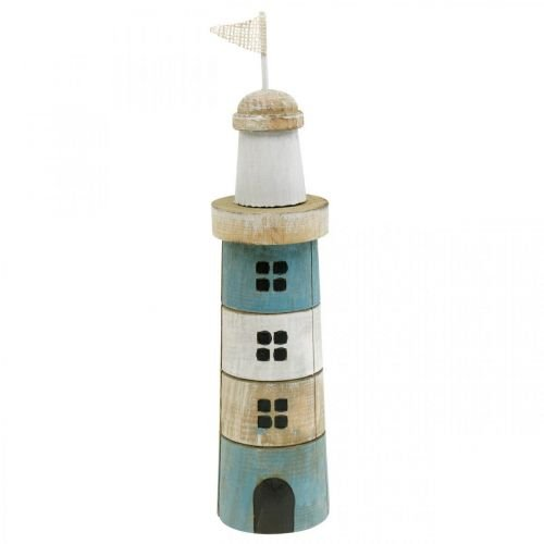 Maritime Deko, Leuchtturm aus Holz, Meeresdeko, Deko-Leuchturm Blau H31cm