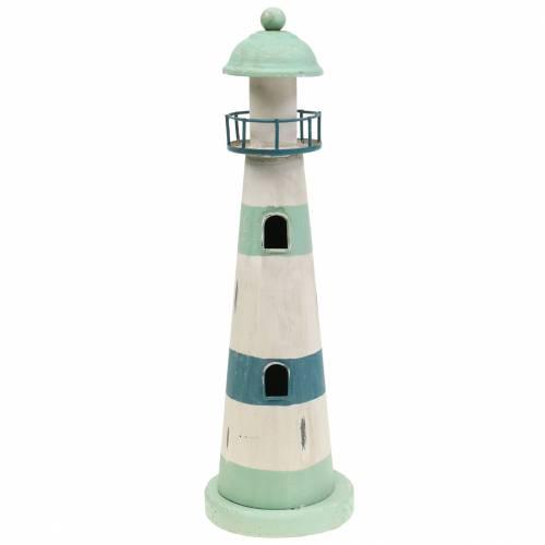 Leuchtturm Türkis, Weiß Ø10,5cm H35cm