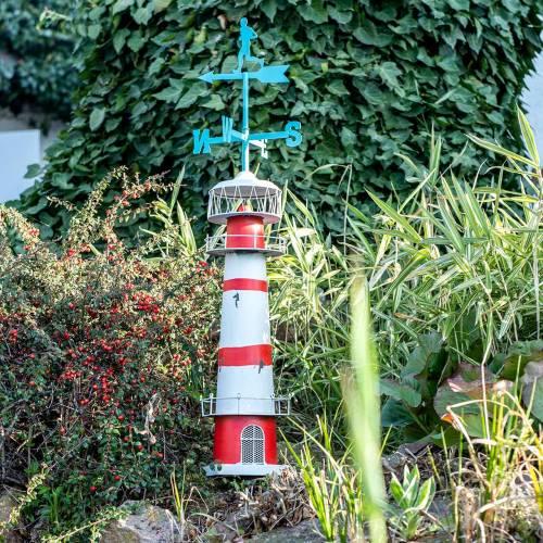 Leuchtturm Rot Weiß mit Wetterfahne 90cm