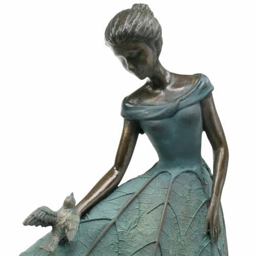 Gartenfigur Mädchen im Blütenkleid Bronze/Grün H52,5cm