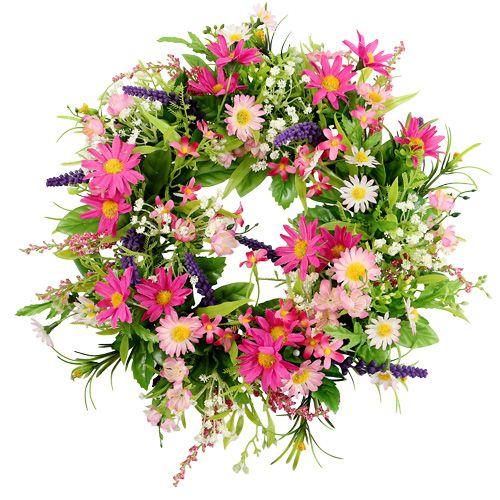 Margeritenkranz mit lavendel pink 28cm preiswert online - Weidenkranz dekorieren ...