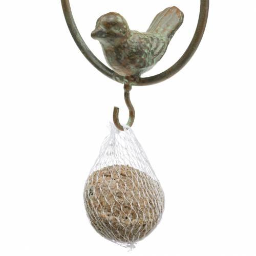 Vogel im Ring als Futterhänger Braun-Grün Metall Ø9,8cm L32,5cm