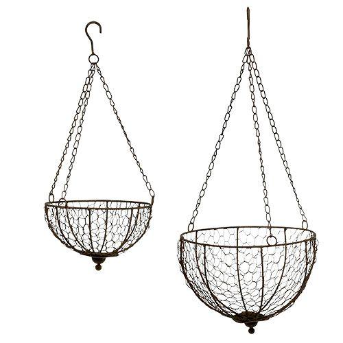 metall korb 2er set zum h ngen 17 5cm 22 5cm preiswert online kaufen. Black Bedroom Furniture Sets. Home Design Ideas