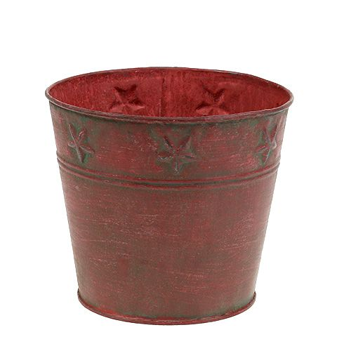 Metalleimer Rot mit Sternen Ø15cm H13cm