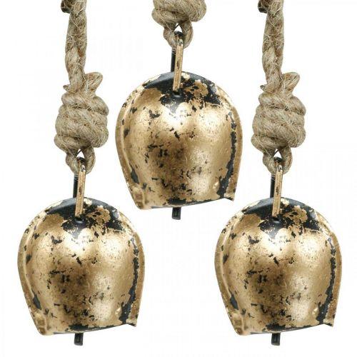 Metallglocken zum Hängen, Landhausdeko, Kuhschellen Golden, Antik-Look 5×3,5cm 12St